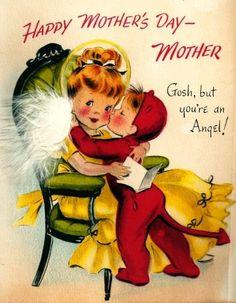 Vintage Greeting Card Little Devil Mother Angel Mother's Day