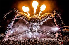 """Amazing DJ stage at """"Boomtown"""" festival, 4 days of live music and art event that offers an array of fringe comedy and theater, Hampshire, United Kingdom. Photo by: Arcadia Spectacular"""