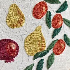 Sunday morning progress. ✨ #LRESYO . . . . . . . . #embroidery #handembroidery #contemporaryembroidery #hoopart #embroiderypattern #diydecor #diygifts #makersgonnamake #handmadelove #botanical #botanicalart #floraldesign #embroiderydesign #floralart #floraldecor #botanicaldecor #bohostyle #fruit #pomegranate #pear #dscolor #dstexture #thehappynow #lovelysquares #etsyfinds #colorpop #acolorstory #abmcrafty #craftsposure