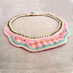 bib necklace in pastel colors by kjoo on Etsy, $300.00
