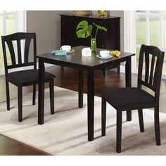 Small 3 Piece Dining Set Table And Chairs Kitchen Home Furniture Wood Dinette - Dining Table - Ideas of Dining Table Kitchen Nook Table, Small Kitchen Table Sets, Small Kitchen Furniture, Small Tables, Kitchen Chairs, Dining Furniture, Small Dining, Kitchen Cabinets, Modern Furniture