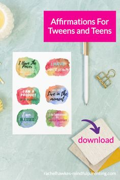 24 printable daily affirmations for tweens and teens. A great list of 20 daily positive affirmations for them to use and they can also purchase the affirmation for teens pack, affirmations for tweens pack or even the affirmations for moms pack. All available on the Mindful Parenting website. #affirmations Mindful Parenting, Peaceful Parenting, Parenting Teens, Parenting Hacks, Positive Affirmations For Kids, Daily Affirmations, Mindfulness For Kids, Mindfulness Activities, Parent Resources