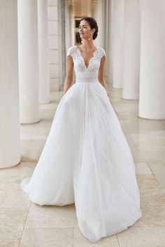 Modest Wedding Dresses Ball Gown Courtesy of Rosa Clara Wedding Dresses;Modest Wedding Dresses Ball Gown Courtesy of Rosa Clara Wedding Dresses; Rosa Clara Wedding Dresses, Top Wedding Dresses, Wedding Dress Trends, Designer Wedding Dresses, Bridal Dresses, Prom Dresses, Wedding Ideas, Simple Wedding Dress Sleeves, Wedding Dress With Pearls