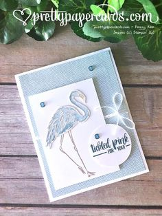 Blue Flamingo! - Pretty Paper Cards  Learn how to make this cute baby boy card at prettypapercards.com! Stampin' Up! Fabulous Flamingo stamp set. Tickled pink for a boy!