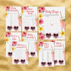 Aloha Baby Shower Games Package Ideas Activities Eight Printable Games Bingo Price is Right Purse Game for Boy Girl Fun Luau Hawaii 0024A by TppCardS #tppcards #printable #invitations