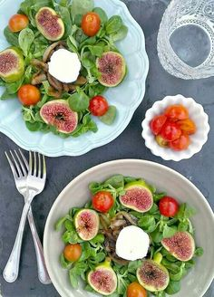 Figs and baby spinach