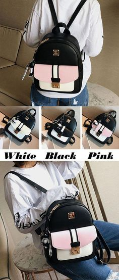 f465f99572 Leisure Black PU Contrast Color Girl s School Bag Small College Backpack  for big sale!