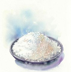 Bowl of rice Watercolor Food, Watercolor Illustration, Watercolour Painting, Watercolors, Fake Food, Food Drawing, Rice Bowls, Beautiful Drawings, Food Packaging