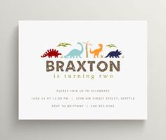 dinosaurs kids birthday invitation set // thank you note set // dino // dinosaur party // prehistoric // jurassic park // modern by OliveandStar on Etsy https://www.etsy.com/listing/240531344/dinosaurs-kids-birthday-invitation-set