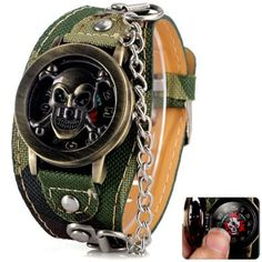 Share and Get It FREE Now   Join Gearbest     Get YOUR FREE GB Points and Enjoy over 100,000 Top Products,Cool Men Watch Analog Display with Flip Skull Head Round Dial Leather Watch Band