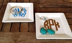 Medium Monogrammed Jewelry/Trinket Tray by MSMudpieBoutique, $12.50 - makes such a cute gift!