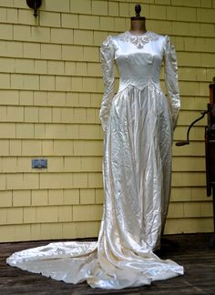 1940s Satin Wedding Gown with Beading and Embroidery   eBay