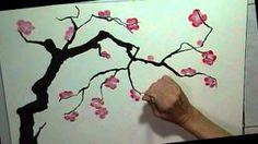 Chinese plum blossom brush painting, via YouTube.