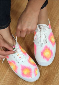 No experience necessary for these quick and easy DIY Ikat Sneakers!