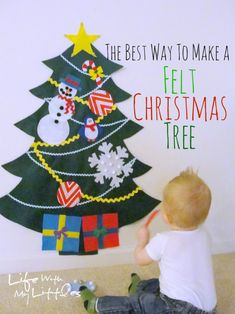 The best way to make a felt Christmas tree for your little ones! Get in a group and all make multiples of an ornament. Then swap!