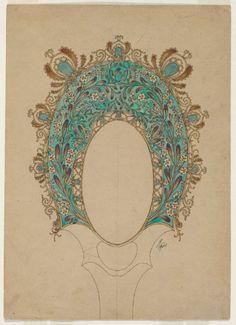 Felix Bracquemond, Design for a hand mirror, c.1900-02