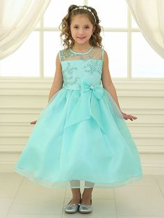 Girls Long Lace Bodice Dress with Bow by Calla Formal Dresses-ABC Fashion Flower Girl Dresses Mint, Little Girl Dresses, Girls Dresses, Dress Girl, Flower Girls, Formal Dresses, Organza Flowers, Lace Flowers, Floral Lace