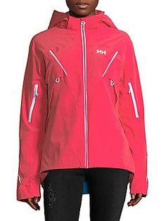 Helly Hansen Hi-lo Hooded Jacket In Pink Glow Helly Hansen, J Brand, Adidas Jacket, Hoods, Hooded Jacket, Rain Jacket, Windbreaker, Clothes For Women, Long Sleeve