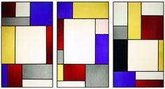 Tripartite stained glass window. Theo van Doesburg. Musée d'Art Moderne et Contemporain de Strasbourg, Strasbourg, France.