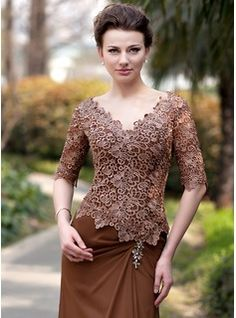 Trumpet/Mermaid V-neck Sweep Train Ruffle Beading Zipper Up Sleeves Sleeves No 2014 Brown General Plus Chiffon Lace Mother of the Bride Dress Model Dress Kebaya, Kebaya Modern Dress, Mother Of The Bride Hats, Mother Of Groom Dresses, Mob Dresses, Fashion Dresses, Nice Dresses, Kebaya Lace, Dress Brokat