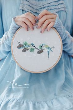Winter Birds, small and beautifully stitched design. Cottage Christmas, Blue Christmas, Cross Stitch Bird, Cross Stitching, Rose Cottage, Colorful Garden, Lettering, Bird Feathers, Blue Bird