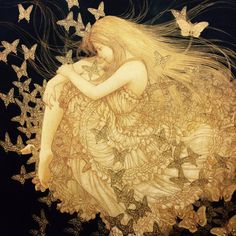 Dear God if I lose hope today please remind me that your plans are bigger than me and my worries 🙏❤🦋 Group Art, Girl Inspiration, Art Nouveau, Japan Art, Fantastic Art, Figurative Art, Dark Art, Cool Art, Art Drawings