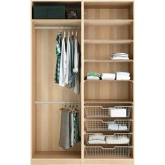 IKEA PAX Wardrobe with interior organizers, white stained oak effect,... (9.836.085 IDR) ❤ liked on Polyvore featuring closet and furniture