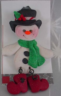 *POLYMER CLAY ~ Christmas Pin Brooch Snowman Top Hat Boots.