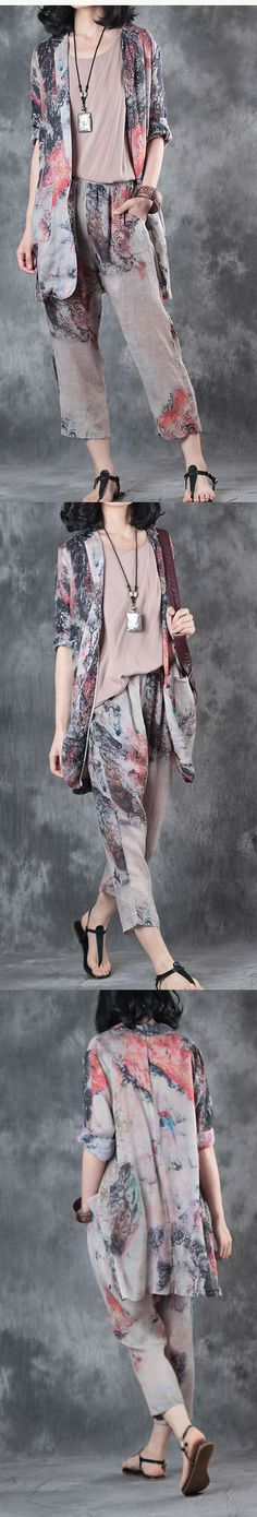 new bird print  linen blouse casual crop pants tops and pants two pieces
