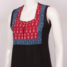 Hand Crafted Ikat Sleeveless Cotton Kurta With Block Prints 10014326 - Size S - AVISHYA.COM