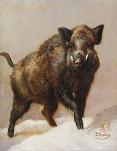 Johannes Christian Deiker - A Wild Boar. Wildlife Paintings, Wildlife Art, Animal Paintings, Animal Drawings, Pig Hunting Dogs, Hunting Art, Hog Dog, Hunting Tattoos, Bear Pictures