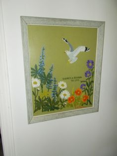 Reason to Life Seagull Crewel Embroidery Picture Hand Made Vintage Framed Home   #Unbranded