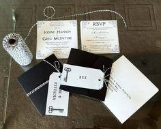 Assembling our vintage inspired wedding Invitations: cards, black folders, black and white string and luggage tags. Wedding Stationery, Wedding Invitations, Michelle T, First Love, My Love, Day Of My Life, Rsvp, Vintage Inspired, Our Wedding