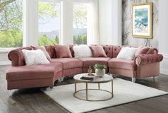 """Acme 57360 4 pc Waldorf park ninagold pink velvet like fabric curved half circle tufted sectional sofa with chaise. This set features tufted backs and nail head trim accents, clear acrylic legs and throw pillows. Sectional measures 139"""" x 74"""" D x 32"""" H. Some assembly required."""