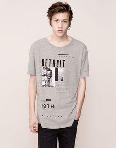 Pull&Bear - man - t-shirts - short-sleeved printed t-shirt - pale marl - 09240556-I2015