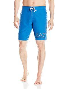 Emporio Armani Mens Silver Logo Bermuda Swim Shorts Blue XXLarge EU 56 >>> Continue to the product at the image link.