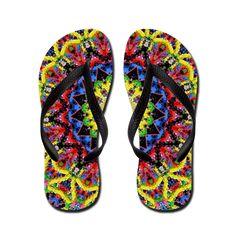 Terrella Wildlife Shelter: Meditation Flip Flops: A colourful kaleidoscopic pattern. Thongs, Flipping, Shelter, My Design, Flip Flops, Meditation, Wildlife, Unisex, Fashion