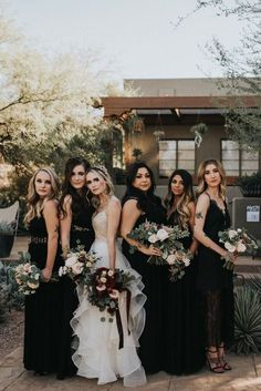 The rich color palette in this Desert Botanical Garden wedding will give you major heart eyes. Jonnie and Garrett photographed the elegant desert wedding. Black Bridesmaids, Black Bridesmaid Dresses, Wedding Bridesmaids, Wedding Dresses, Halloween Bridesmaid Dress, Gothic Wedding, Dream Wedding, Edgy Wedding, Wedding Black