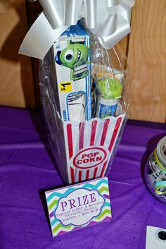 Popcorn favors at a Monsters Inc Party #monstersinc #partyfavors