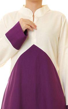 Purple Cotton Linen 2-Tone Mandarin Neckline by Tailored2Modesty