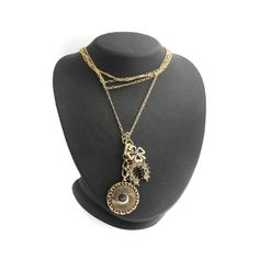 "Goldtone Simulated Crystal Vegas Luck Charm 18"" Necklace #Chain"
