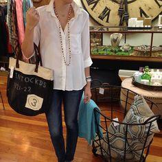 causal comforts | @bella_dahl @Chan Luu  #ootd #totes #pillows #iron #basket #storage #denim #crisp #white #daytonight #simplified #shoplocal #shopjuxtapose #Padgram