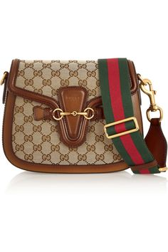 Gucci|Lady Web medium leather-trimmed canvas shoulder bag|NET-A-PORTER.COM