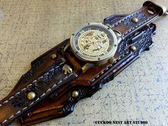 Burned looking leather watch Steampunk от CuckooNestArtStudio