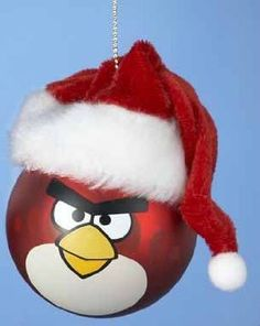 Red Angry Bird with Santa Hat Glass Ball Christmas Ornament - possible DIY