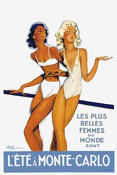 Vintage Summer in Monte Carlo Travel Posters Prints - c, 1940's