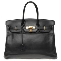Sacs à main Hermès Hermès Birkin 35 en cuir Courchevel noir, garniture en métal plaqué or Cuir Noir ref.179984 - Joli Closet