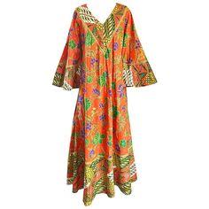 Rare 1970s Jay Morley + Fern Violette Orange Boho Cotton Caftan 70s Maxi Dress  1
