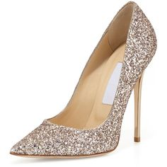 Jimmy Choo Abel Glitter Pointed-Toe Pump (8.965.240 IDR) ❤ liked on Polyvore featuring shoes, pumps, heels, sapatos, high heels, nude, leather slip-on shoes, slip-on shoes, pointed toe high heel pumps and jimmy choo pumps