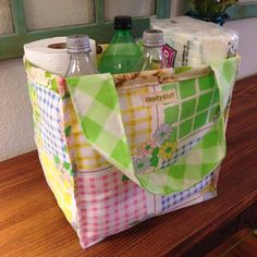 Upcycled Vintage Fabric Reversible Shopping Bag by UppityStuff